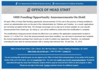 OHS Funding Opportunity Announcements On Hold